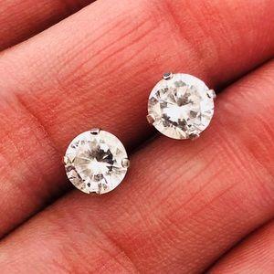 14k White Gold Diamonique Post Stud Earrings